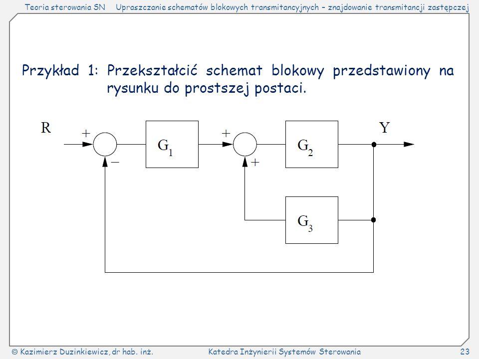 Teoria sterowania SNUpraszczanie schematów blokowych transmitancyjnych – znajdowanie transmitancji zastępczej  Kazimierz Duzinkiewicz, dr hab.
