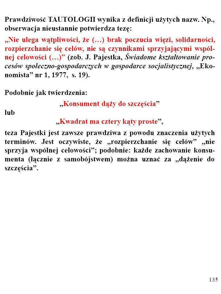 134 NIEOBALALNOŚĆ oznacza, że wypowiedzi nie da się zaprzeczyć z powodu cech języka, w którym ją wypowiedziano.