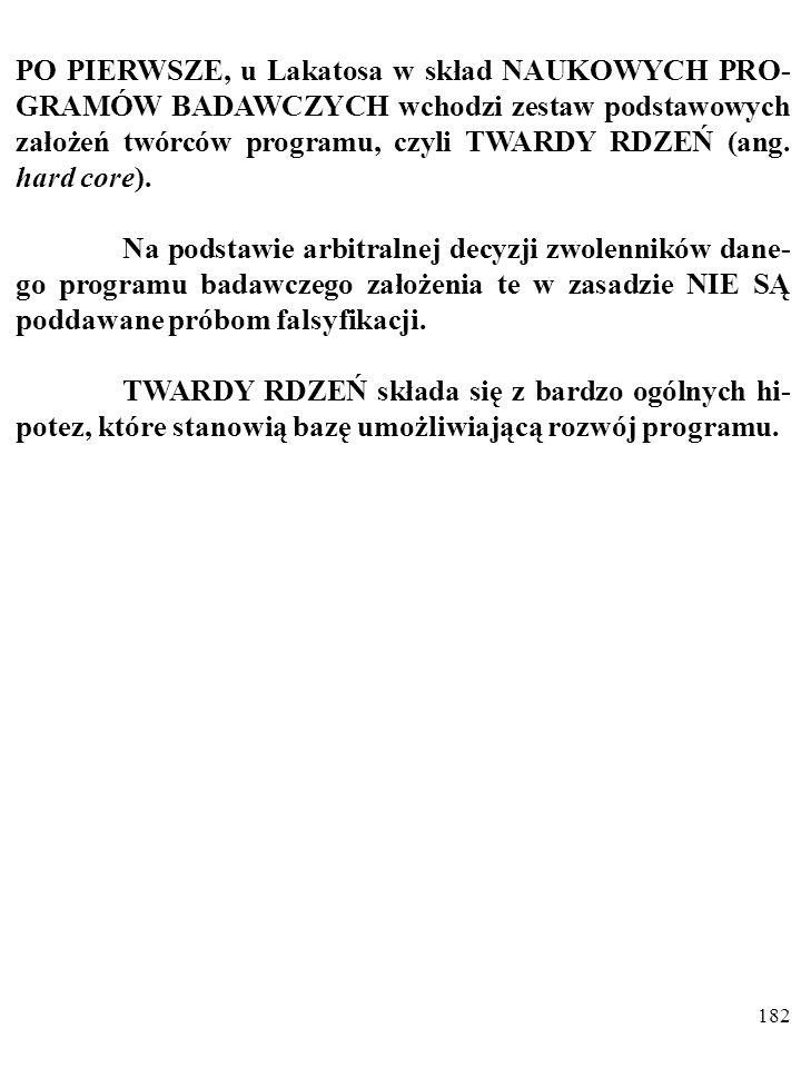 181 Według Lakatosa ewoluujące teorie naukowe (lub grupy po- wiązanych teorii), czyli NAUKOWE PROGRAMY BADAW- CZE, ang.