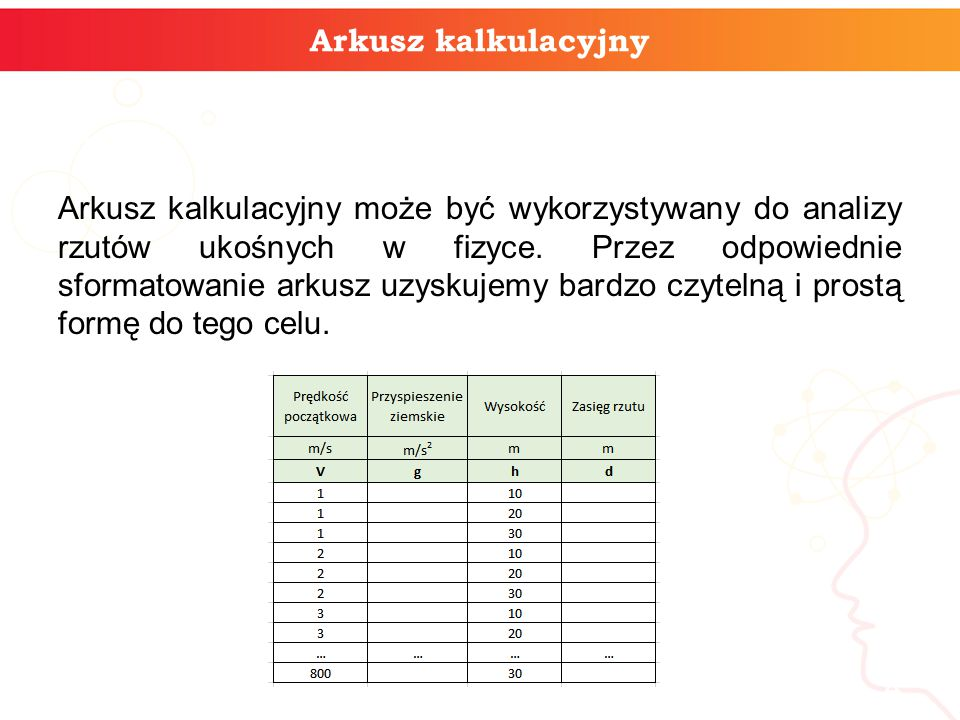 Arkusz kalkulacyjny Arkusz kalkulacyjny może być wykorzystywany do analizy rzutów ukośnych w fizyce. Przez odpowiednie sformatowanie arkusz uzyskujemy