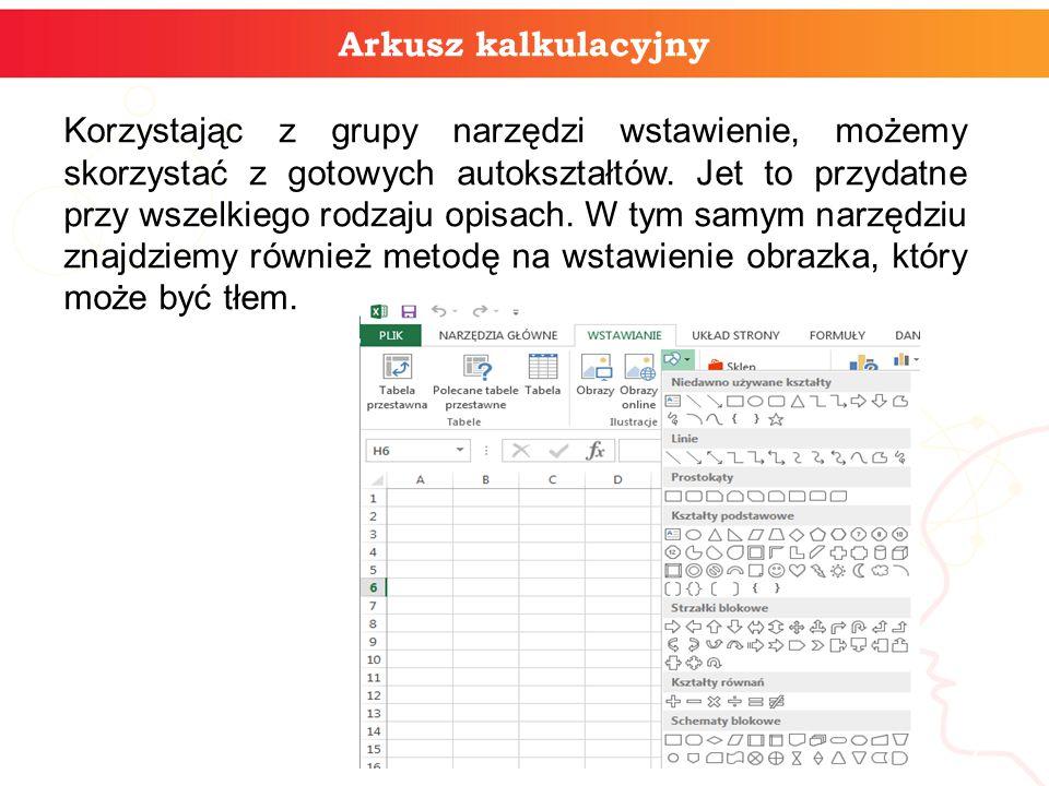 Arkusz kalkulacyjny Korzystając z grupy narzędzi wstawienie, możemy skorzystać z gotowych autokształtów. Jet to przydatne przy wszelkiego rodzaju opis