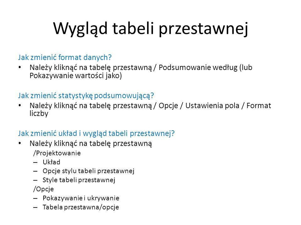 Wygląd tabeli przestawnej Jak zmienić format danych? Należy kliknąć na tabelę przestawną / Podsumowanie według (lub Pokazywanie wartości jako) Jak zmi