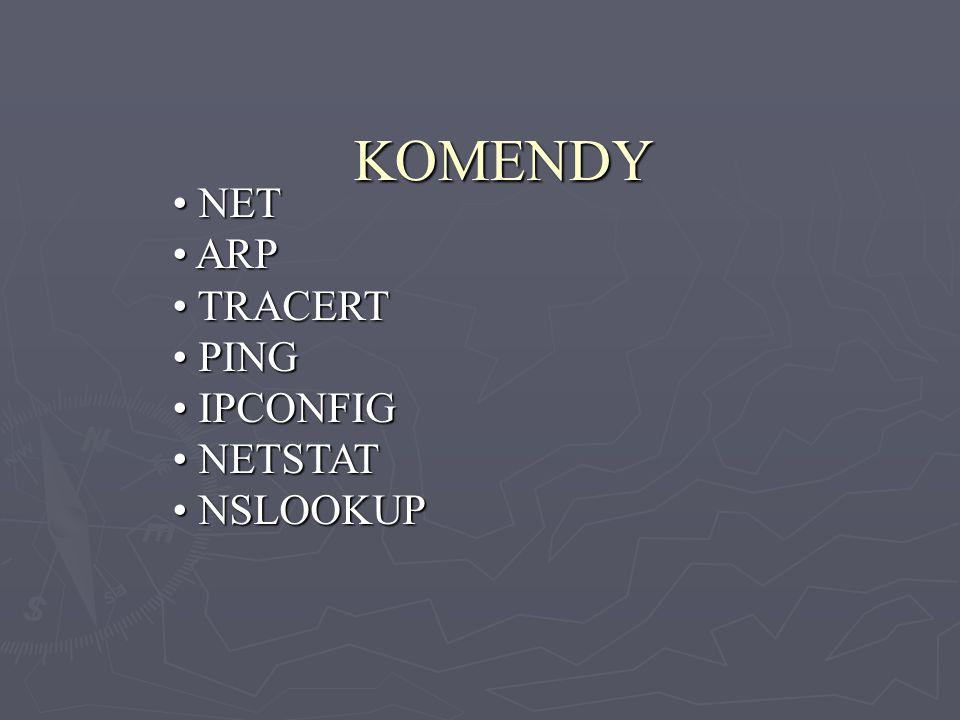 KOMENDY NET NET ARP ARP TRACERT TRACERT PING PING IPCONFIG IPCONFIG NETSTAT NETSTAT NSLOOKUP NSLOOKUP