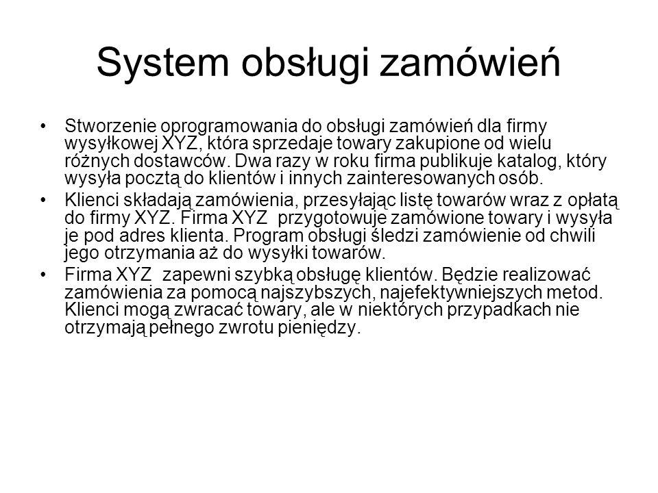 System obsługi zamówień Stworzenie oprogramowania do obsługi zamówień dla firmy wysyłkowej XYZ, która sprzedaje towary zakupione od wielu różnych dostawców.