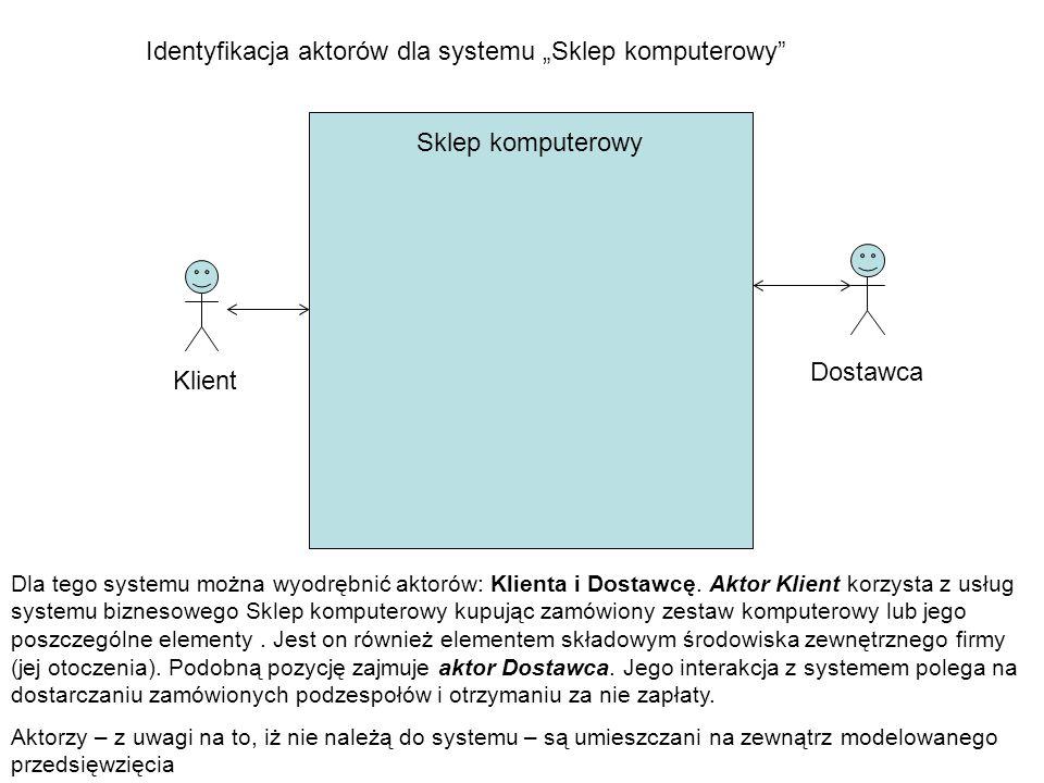 """Sklep komputerowy Identyfikacja aktorów dla systemu """"Sklep komputerowy Klient Dostawca Dla tego systemu można wyodrębnić aktorów: Klienta i Dostawcę."""