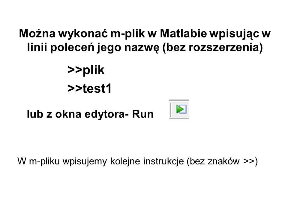 >>plik >>test1 Można wykonać m-plik w Matlabie wpisując w linii poleceń jego nazwę (bez rozszerzenia) W m-pliku wpisujemy kolejne instrukcje (bez znak