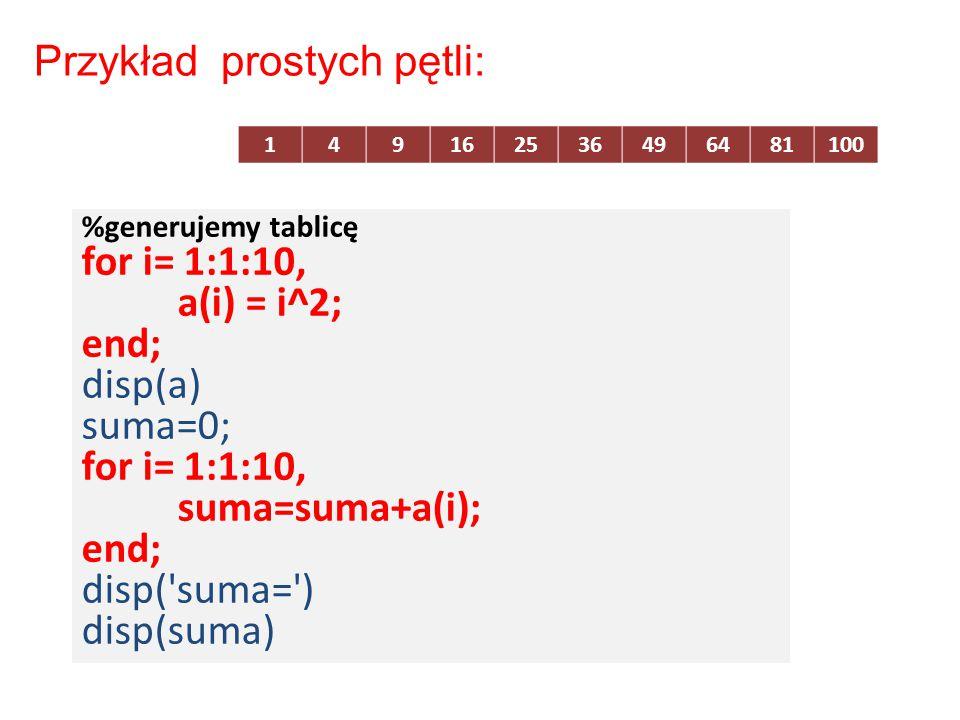 %generujemy tablicę for i= 1:1:10, a(i) = i^2; end; disp(a) suma=0; for i= 1:1:10, suma=suma+a(i); end; disp('suma=') disp(suma) Przykład prostych pęt