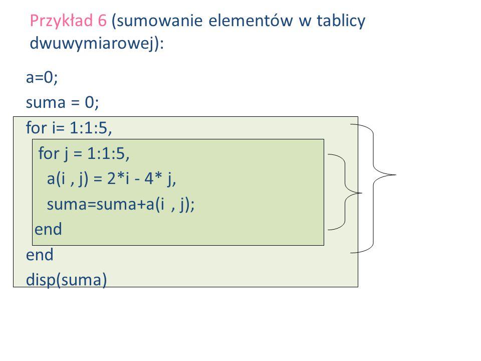 a=0; suma = 0; for i= 1:1:5, for j = 1:1:5, a(i, j) = 2*i - 4* j, suma=suma+a(i, j); end disp(suma) Przykład 6 (sumowanie elementów w tablicy dwuwymia