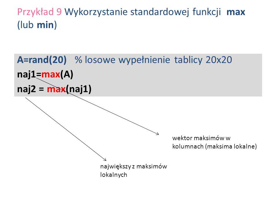 A=rand(20) % losowe wypełnienie tablicy 20x20 naj1=max(A) naj2 = max(naj1) Przykład 9 Wykorzystanie standardowej funkcji max (lub min) wektor maksimów
