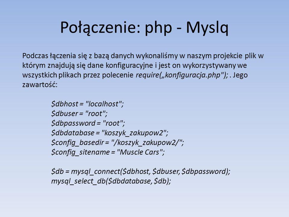 Połączenie: php - Myslq Podczas łączenia się z bazą danych wykonaliśmy w naszym projekcie plik w którym znajdują się dane konfiguracyjne i jest on wyk