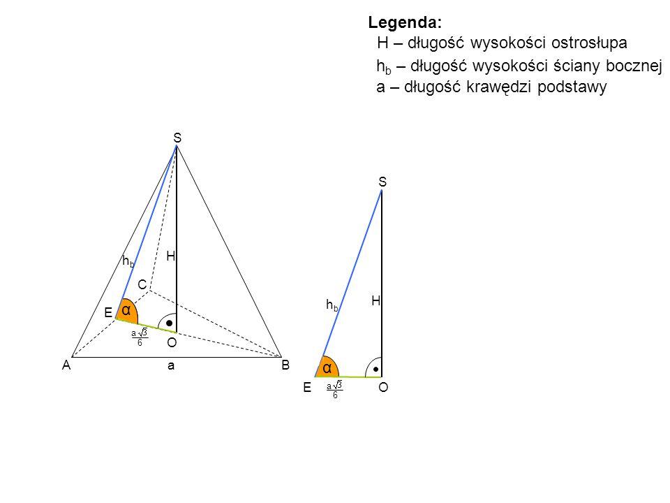 A B C S H O hbhb E α α S H hbhb EO α a 6 a Legenda: H – długość wysokości ostrosłupa h b – długość wysokości ściany bocznej a 6 a – długość krawędzi p