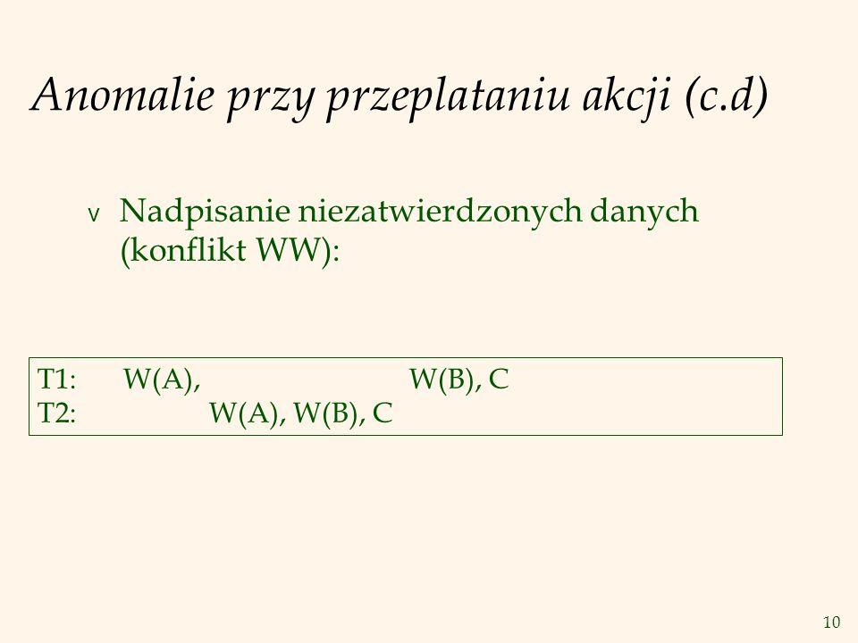 10 Anomalie przy przeplataniu akcji (c.d) v Nadpisanie niezatwierdzonych danych (konflikt WW): T1:W(A), W(B), C T2:W(A), W(B), C