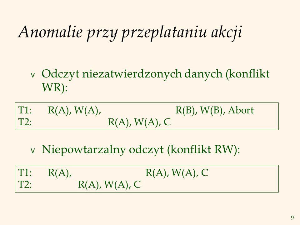 9 Anomalie przy przeplataniu akcji v Odczyt niezatwierdzonych danych (konflikt WR): v Niepowtarzalny odczyt (konflikt RW): T1: R(A), W(A), R(B), W(B), Abort T2:R(A), W(A), C T1:R(A), R(A), W(A), C T2:R(A), W(A), C