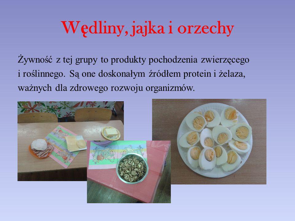 W ę dliny, jajka i orzechy Żywność z tej grupy to produkty pochodzenia zwierzęcego i roślinnego.