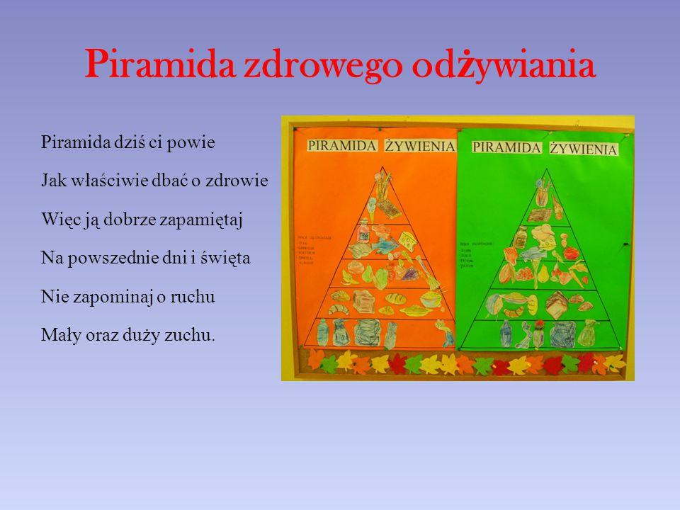 Piramida zdrowego od ż ywiania Piramida dziś ci powie Jak właściwie dbać o zdrowie Więc ją dobrze zapamiętaj Na powszednie dni i święta Nie zapominaj o ruchu Mały oraz duży zuchu.
