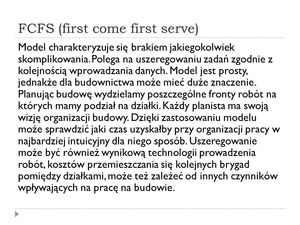 FCFS (first come first serve) Model charakteryzuje się brakiem jakiegokolwiek skomplikowania. Polega na uszeregowaniu zadań zgodnie z kolejnością wpro