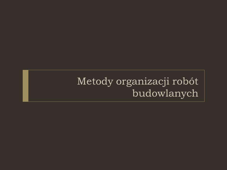 Podstawowe metody organizacji:  Przedsięwzięcia typu kompleks operacji:  Metoda równoległego wykonania  Metoda kolejnego wykonania  Przedsięwzięcia realizowane potokowymi metodami realizacji robót  Metoda pracy równomiernej