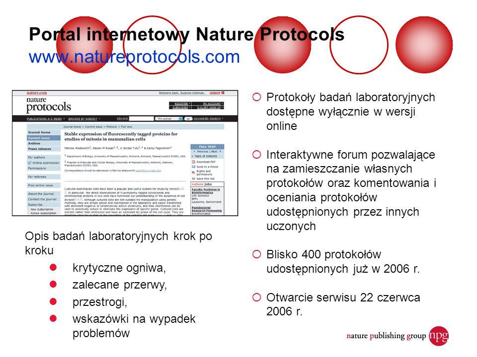 Portal internetowy Nature Protocols www.natureprotocols.com  Protokoły badań laboratoryjnych dostępne wyłącznie w wersji online  Interaktywne forum