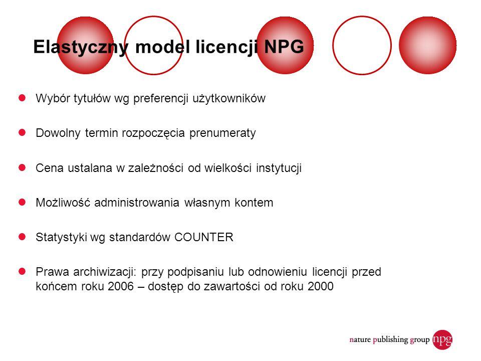 Elastyczny model licencji NPG Wybór tytułów wg preferencji użytkowników Dowolny termin rozpoczęcia prenumeraty Cena ustalana w zależności od wielkości