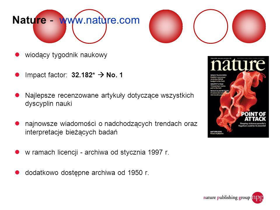 wiodący tygodnik naukowy Impact factor: 32.182*  No. 1 Najlepsze recenzowane artykuły dotyczące wszystkich dyscyplin nauki najnowsze wiadomości o nad