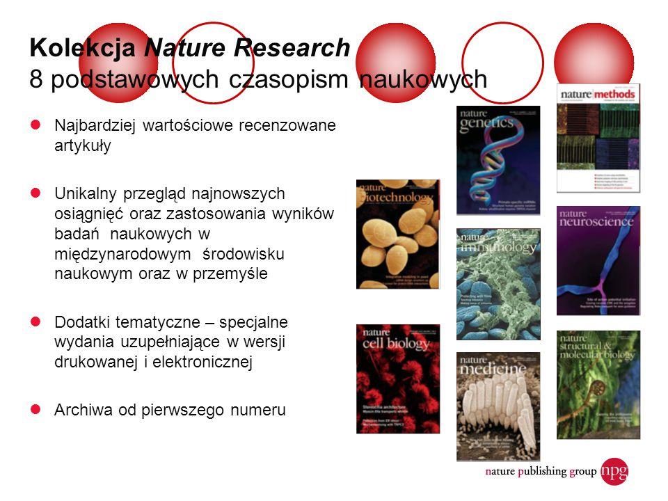 Kolekcja Nature Research 8 podstawowych czasopism naukowych Najbardziej wartościowe recenzowane artykuły Unikalny przegląd najnowszych osiągnięć oraz