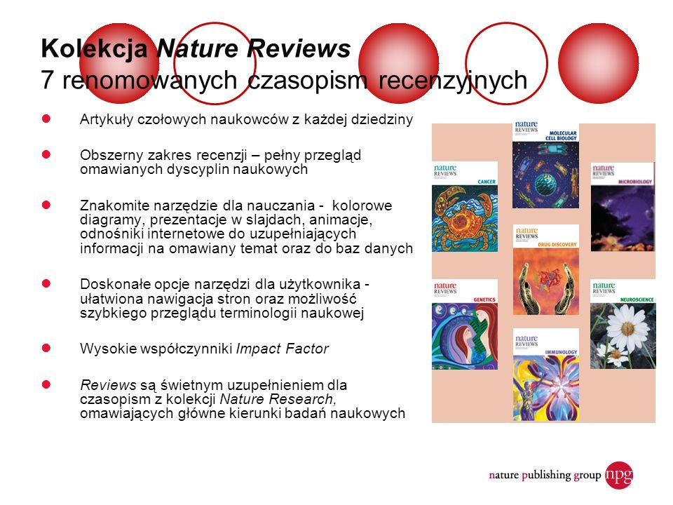 Kolekcja Nature Reviews 7 renomowanych czasopism recenzyjnych Artykuły czołowych naukowców z każdej dziedziny Obszerny zakres recenzji – pełny przeglą