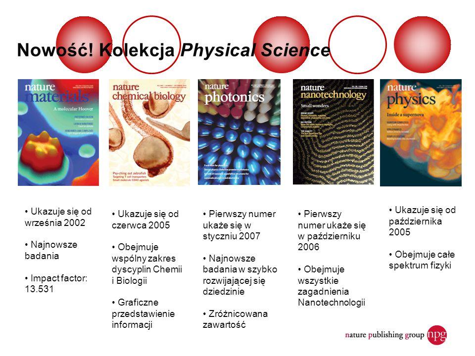 Nowość! Kolekcja Physical Science Pierwszy numer ukaże się w październiku 2006 Obejmuje wszystkie zagadnienia Nanotechnologii Ukazuje się od czerwca 2