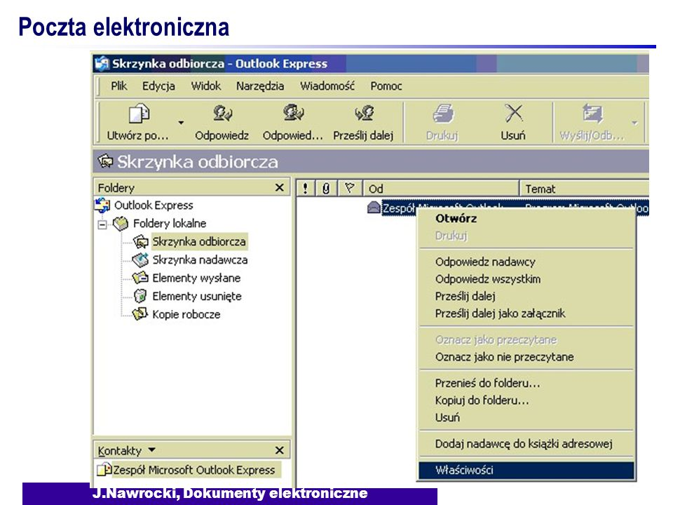 J.Nawrocki, Dokumenty elektroniczne Poczta elektroniczna