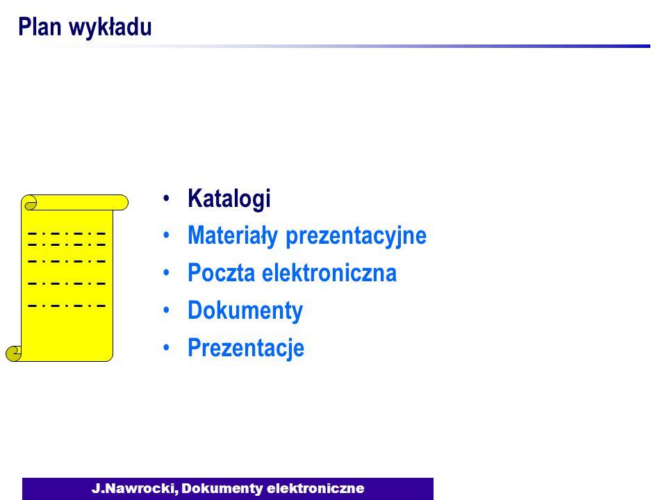 J.Nawrocki, Dokumenty elektroniczne Plan wykładu Katalogi Materiały prezentacyjne Poczta elektroniczna Dokumenty Prezentacje