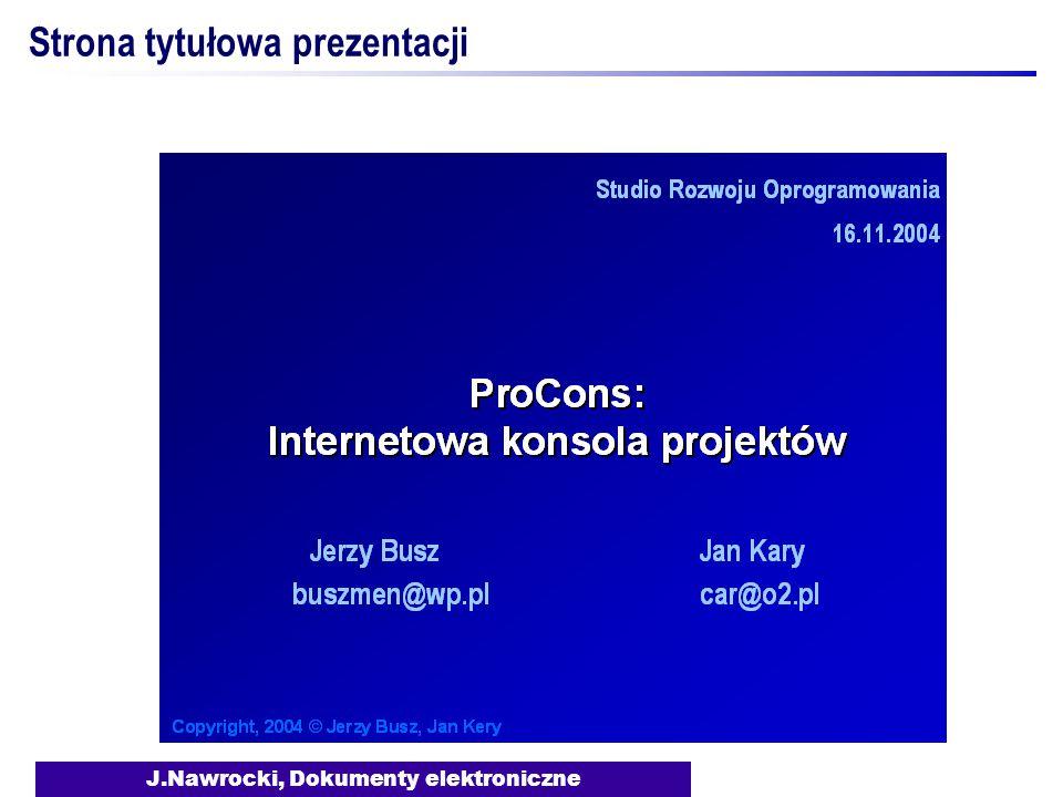 J.Nawrocki, Dokumenty elektroniczne Strona tytułowa prezentacji