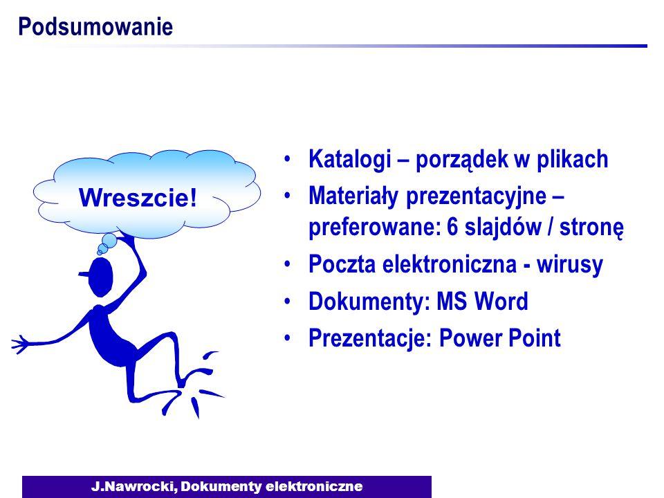 J.Nawrocki, Dokumenty elektroniczne Podsumowanie Katalogi – porządek w plikach Materiały prezentacyjne – preferowane: 6 slajdów / stronę Poczta elektroniczna - wirusy Dokumenty: MS Word Prezentacje: Power Point Wreszcie!
