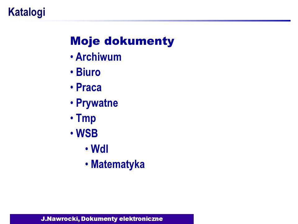 J.Nawrocki, Dokumenty elektroniczne Katalogi Moje dokumenty Archiwum Biuro Praca Prywatne Tmp WSB WdI Matematyka