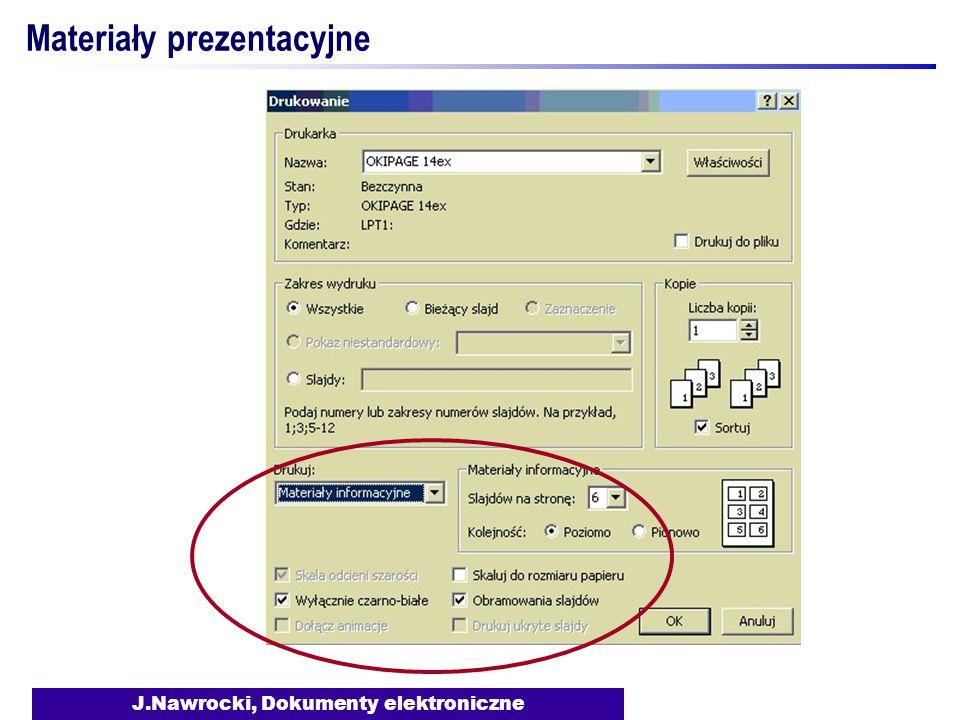 J.Nawrocki, Dokumenty elektroniczne Materiały prezentacyjne