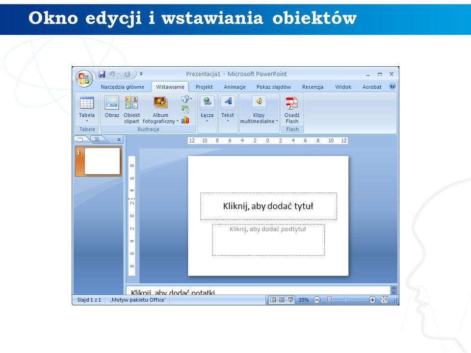 Okno edycji i wstawiania obiektów