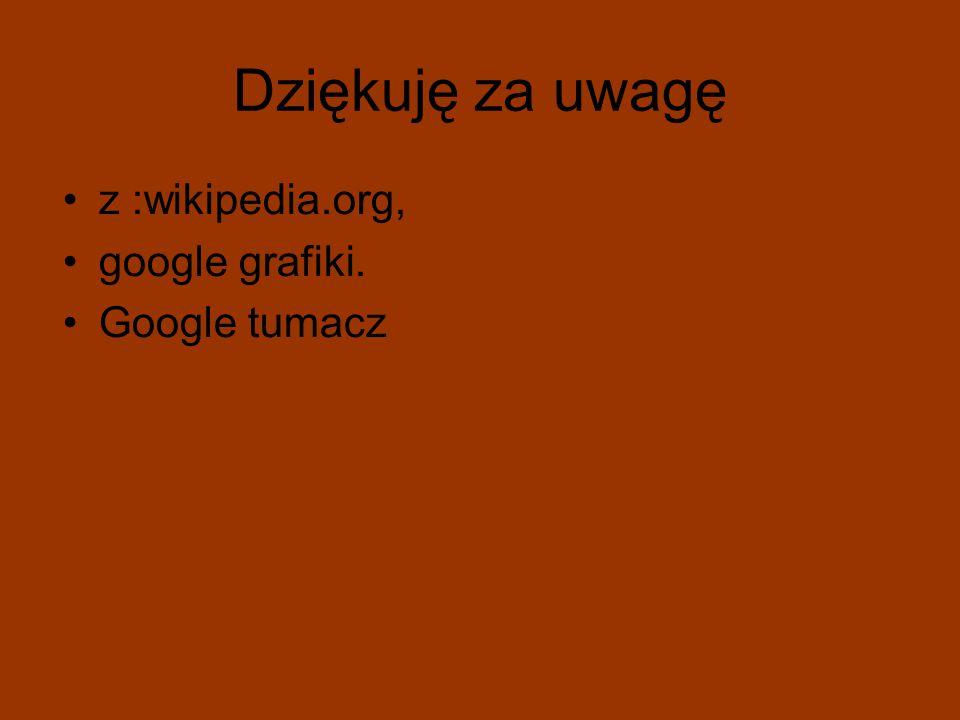 Dziękuję za uwagę z :wikipedia.org, google grafiki. Google tumacz