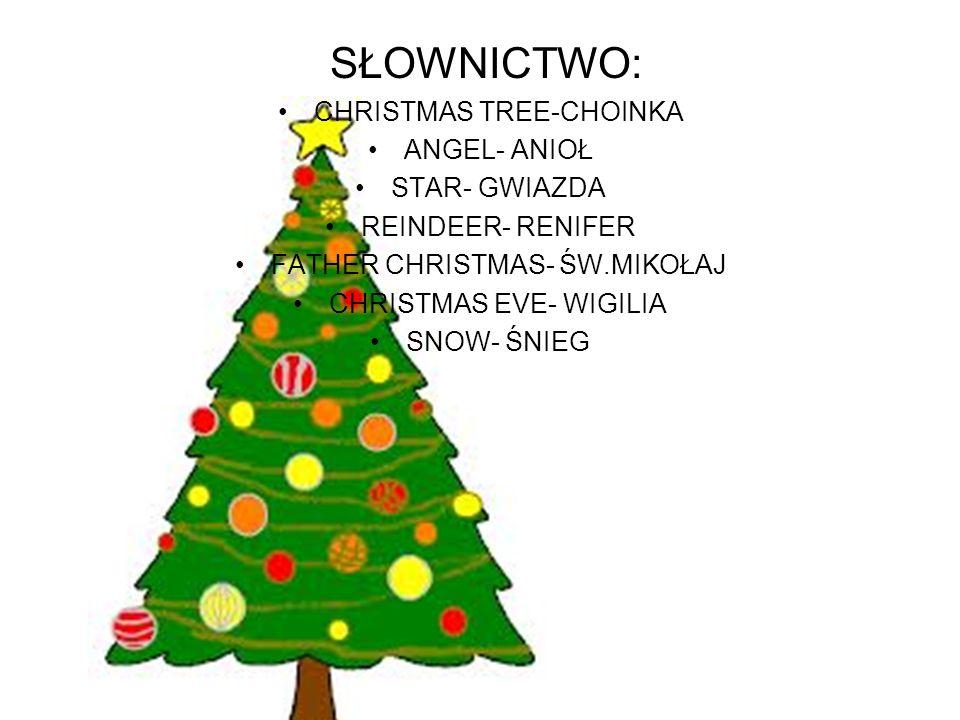 SŁOWNICTWO: CHRISTMAS TREE-CHOINKA ANGEL- ANIOŁ STAR- GWIAZDA REINDEER- RENIFER FATHER CHRISTMAS- ŚW.MIKOŁAJ CHRISTMAS EVE- WIGILIA SNOW- ŚNIEG