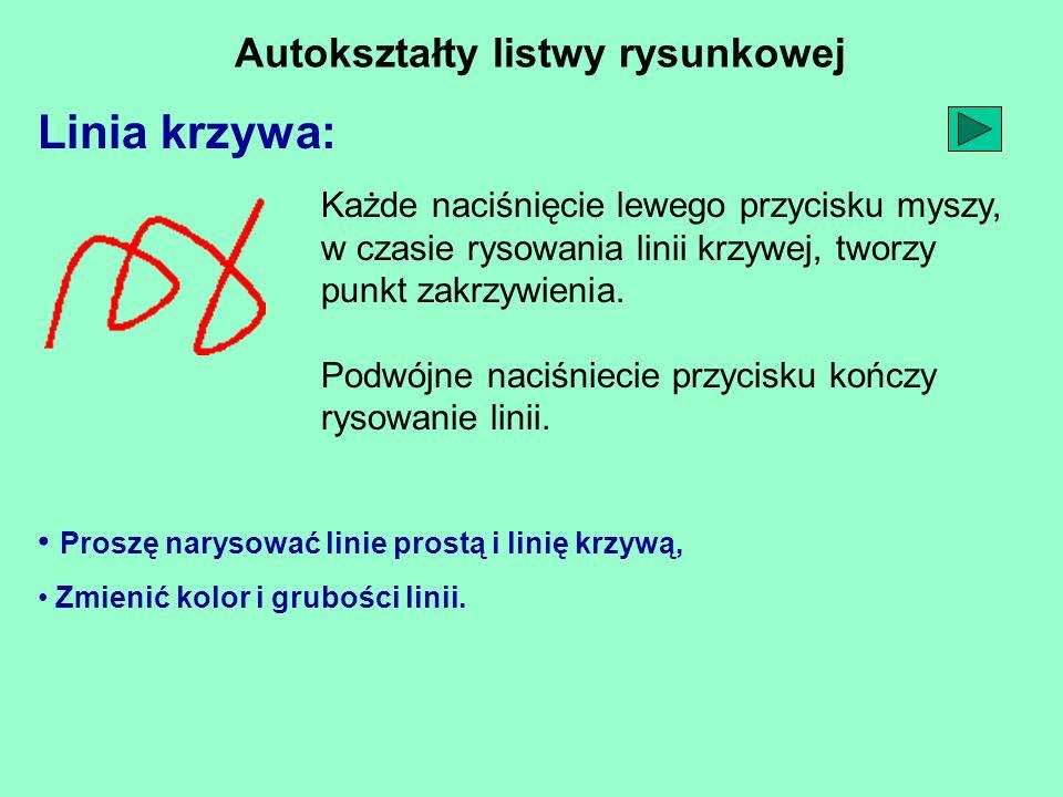 Autokształty listwy rysunkowej Linia krzywa: Proszę narysować linie prostą i linię krzywą, Zmienić kolor i grubości linii. Każde naciśnięcie lewego pr