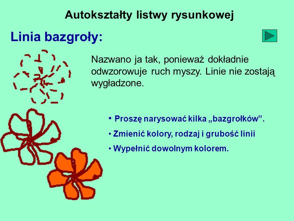 """Autokształty listwy rysunkowej Linia bazgroły: Proszę narysować kilka """"bazgrołków ."""