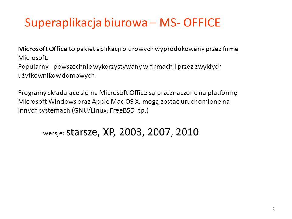 W skład pakietu MS Office Basic wchodzą: − Microsoft Word (edytor tekstu) − Microsoft Excel (arkusz kalkulacyjny) − Microsoft PowerPoint (tworzenie prezentacji multimedialnej) − Microsoft Office Picture Manager (przeglądarka obrazow, prosta edycja zdjęć) Ponadto: − Microsoft Outlook (program pocztowy, kalendarz).