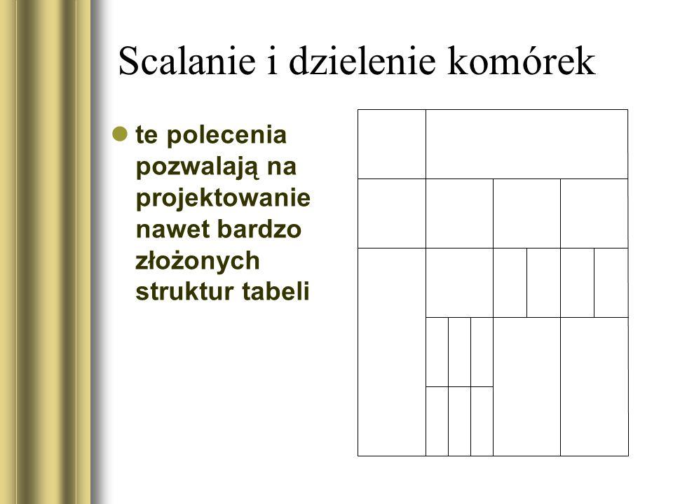 Scalanie i dzielenie komórek te polecenia pozwalają na projektowanie nawet bardzo złożonych struktur tabeli