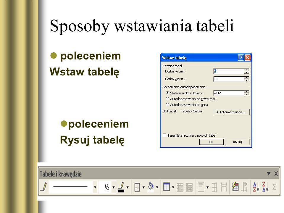 Sposoby wstawiania tabeli poleceniem Wstaw tabelę poleceniem Rysuj tabelę
