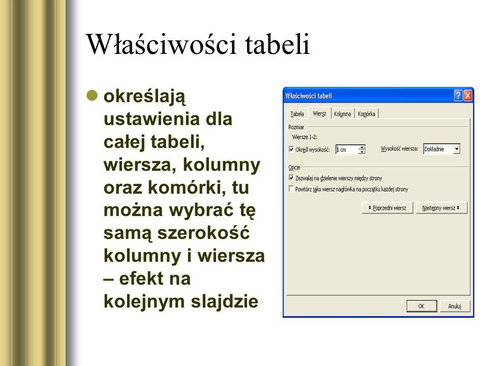 Właściwości tabeli określają ustawienia dla całej tabeli, wiersza, kolumny oraz komórki, tu można wybrać tę samą szerokość kolumny i wiersza – efekt na kolejnym slajdzie
