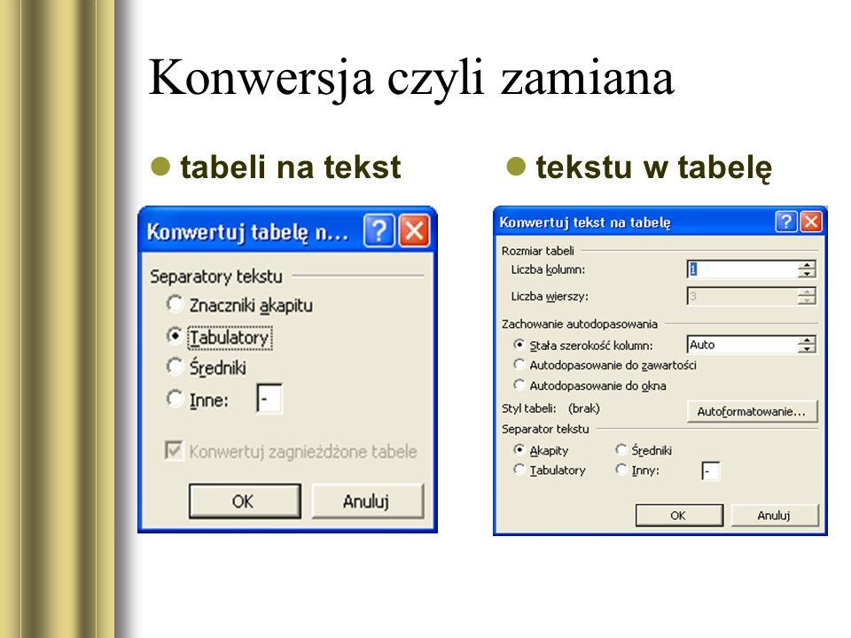 Konwersja czyli zamiana tabeli na tekst tekstu w tabelę