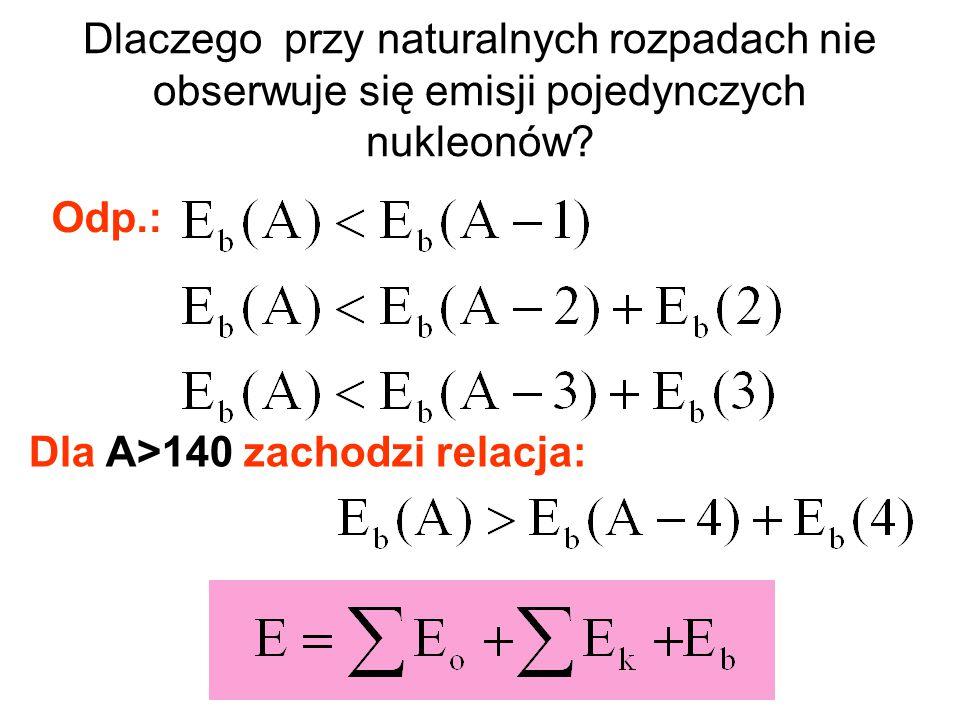 Dlaczego przy naturalnych rozpadach nie obserwuje się emisji pojedynczych nukleonów? Dla A>140 zachodzi relacja: Odp.: