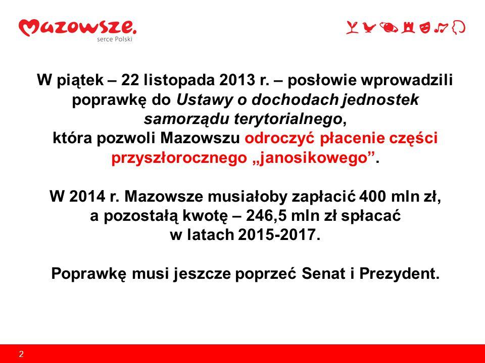 2 W piątek – 22 listopada 2013 r. – posłowie wprowadzili poprawkę do Ustawy o dochodach jednostek samorządu terytorialnego, która pozwoli Mazowszu odr