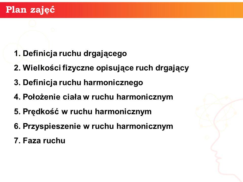 Plan zajęć 1. Definicja ruchu drgającego 2. Wielkości fizyczne opisujące ruch drgający 3. Definicja ruchu harmonicznego 4. Położenie ciała w ruchu har