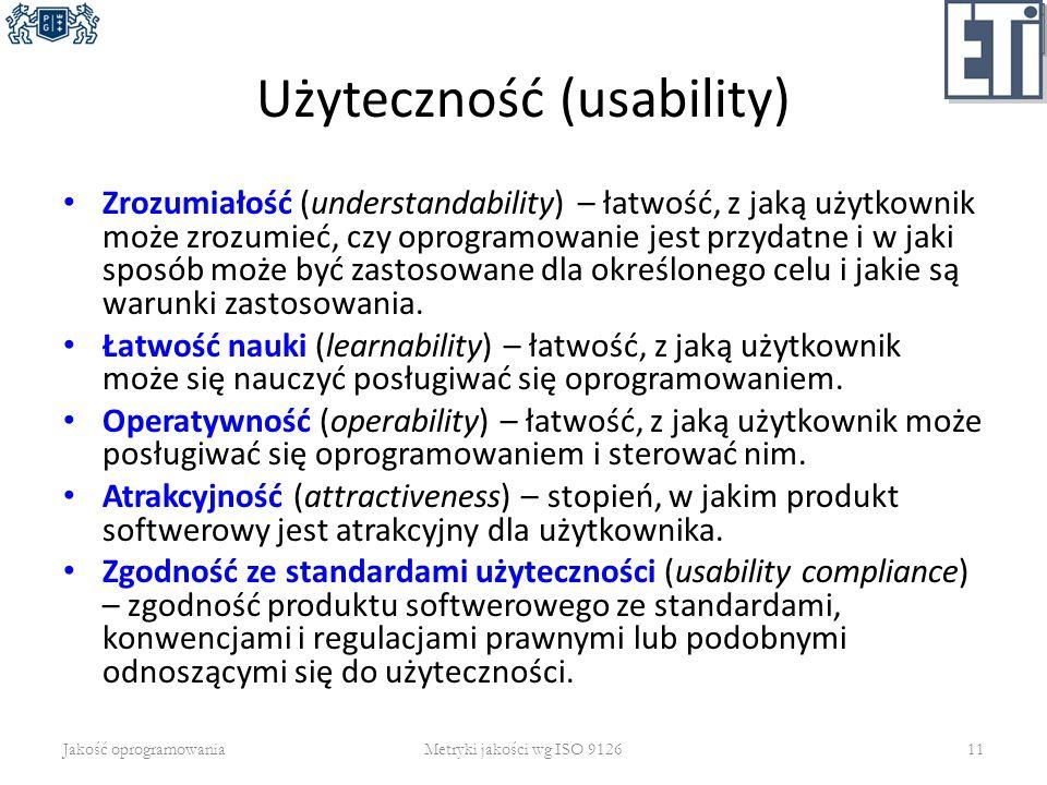Użyteczność (usability) Zrozumiałość (understandability) – łatwość, z jaką użytkownik może zrozumieć, czy oprogramowanie jest przydatne i w jaki sposó