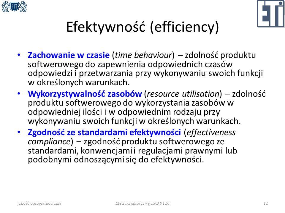 Efektywność (efficiency) Zachowanie w czasie (time behaviour) – zdolność produktu softwerowego do zapewnienia odpowiednich czasów odpowiedzi i przetwa