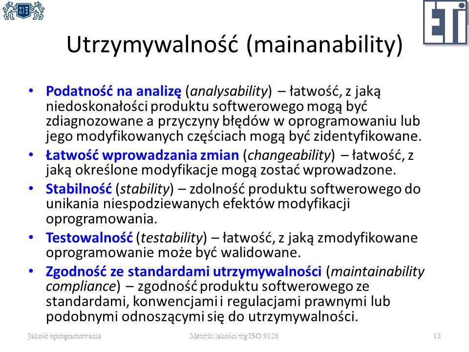 Utrzymywalność (mainanability) Podatność na analizę (analysability) – łatwość, z jaką niedoskonałości produktu softwerowego mogą być zdiagnozowane a p