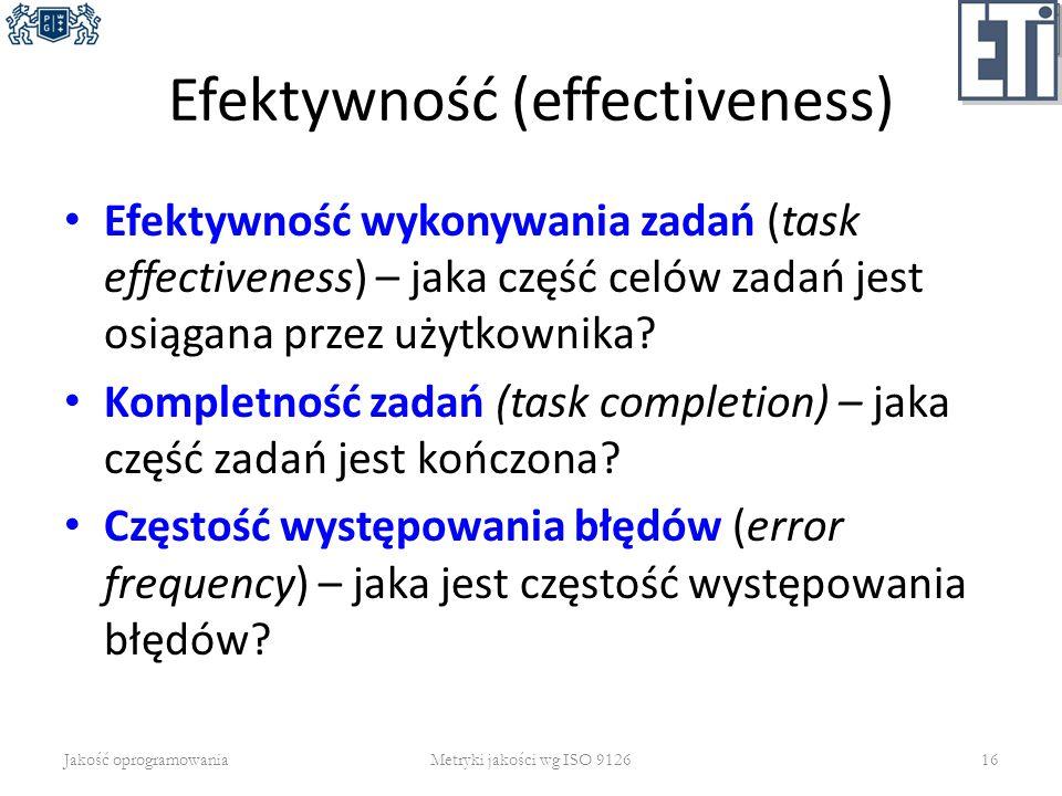 Efektywność (effectiveness) Efektywność wykonywania zadań (task effectiveness) – jaka część celów zadań jest osiągana przez użytkownika? Kompletność z